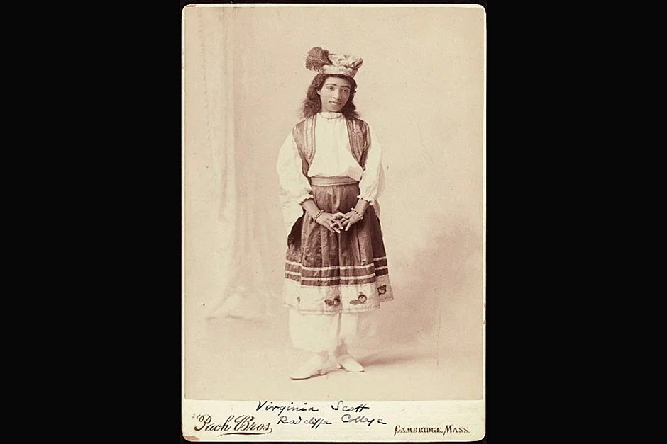 Alberta Virginia Scott, A.B. 1898, the first African-American graduate of Radcliffe, in a special dress for a class celebration. Photo ca. 1898. Credit: Schlesinger Library, Radcliffe Institute, Harvard University (http://www.radcliffe.edu/schles/)