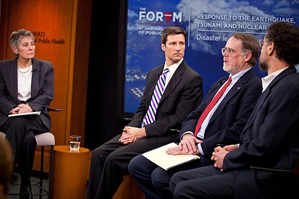 Jennifer Leaning (from left) moderated a Harvard School of Public Health forum with Michael VanRooyen, Gordon Thompson, Michael Reich, and Takashi Nagata (below) on the crises in Japan and keys to an effective disaster response.