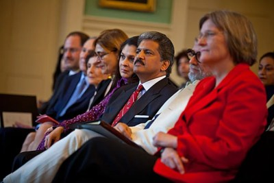 """Anand Mahindra (center), Homi Bhabha, and President Drew Faust attend festivities celebrating the dedication of the Mahindra Humanities Center at Harvard. """"Today we celebrate the freedom this gift will provide for so many at Harvard,"""" Faust said."""