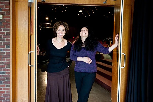 "Written by Amy Brenneman '87 (left) and co-created and directed by her longtime collaborator Sabrina Peck '84 (right), ""Mouth Wide Open"" draws on Brenneman's personal struggle for balance and spirituality amid the pressures of celebrity and illness. ""Mouth Wide Open"" will be onstage at the Loeb Drama Center May 24-29."