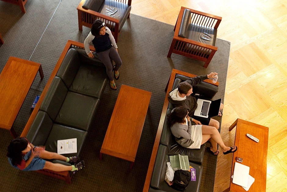 """The """"Fishbowl"""" at Currier offers a place to watch television, and, for Mara and friend, it is a place to perch. Rose Lincoln/Harvard Staff Photographer"""