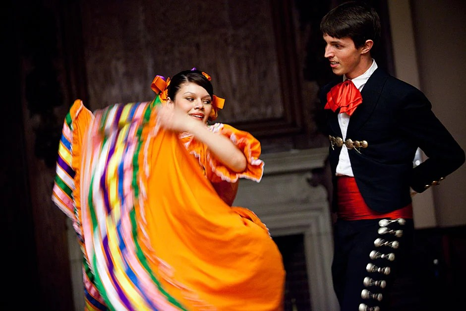 Harvard Ballet Folklórico de Aztlán's Marisol Romero '12 and Keith Grubb '13 (of Adams House) perform La Negra, a type of dance that originated from the Mexican state of Jalisco. Stephanie Mitchell/Harvard Staff Photographer