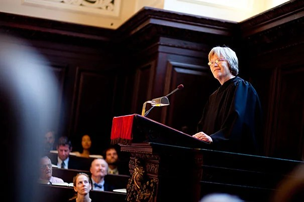 """Harvard University President Drew Faust delivered the Morning Prayers in Appleton Chapel. Faust said Harvard's history calls to mind the great responsibility that comes with a great education, """"the privilege to contribute to purposes larger than ourselves."""""""