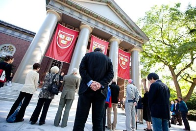 """A """"Moment of Interfaith Prayer and Reflection"""" was held on the steps of the Memorial Church in Harvard Yard at 8:46 a.m., the exact time that American Flight 11 crashed into the north tower of the World Trade Center."""