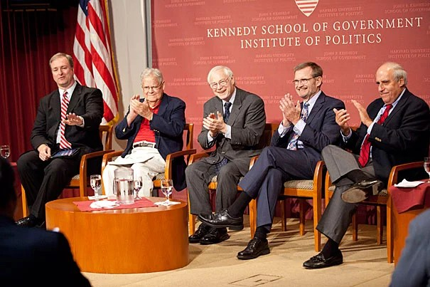 """""""We've lost respect for each other,"""" said Jim Leach (second from left), chairman of the National Endowment for the Humanities, during a conversation with former directors of the Institute of Politics (IOP) — """"Civility in Politics: Is There Hope?"""" Trey Grayson (from far left), director of the IOP, moderated the panel, which included Jonathan Moore, Leach, Phil Sharp, Dan Glickman, and New Hampshire Sen. Jeanne Shaheen (via Internet), at the Harvard Kennedy School Forum."""
