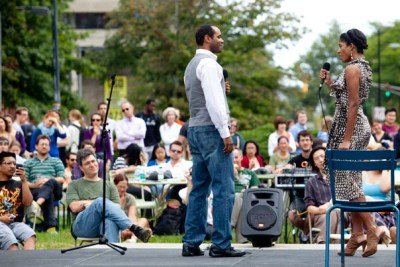 "Ensemble members Nathaniel Stampley and Alicia Hall Moran from ""The Gershwins' Porgy & Bess"" sing ""Bess, You Is My Woman Now"" outside the Science Center as part of the Common Spaces performance series, ""The Chairs Revue."""