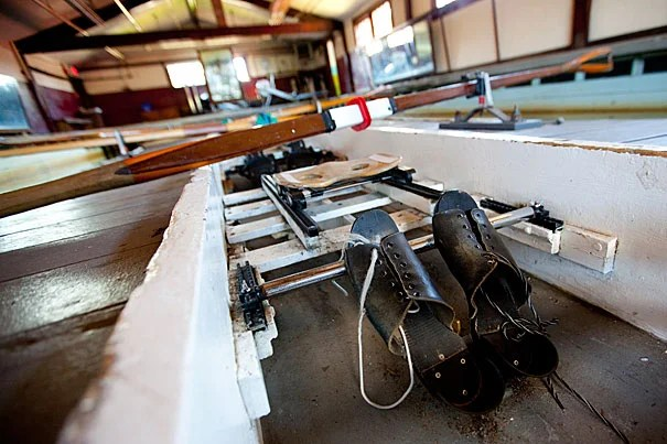 Vintage shoes in the practice tank at Harvard's Newell Boathouse.  Rose Lincoln /Harvard Staff Photographer