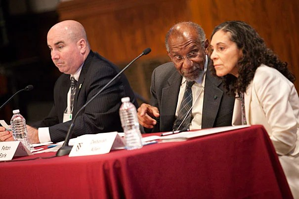 """Building trust is a fundamental part of a police officer's work, said Daniel Linskey (from left), Boston Police Department superintendent-in-chief, during a symposium titled """"Reimagining the City-University Connection: Integrating Research, Policy, and Practice."""" Harvard Medical School Professor of Social Medicine Felton Earls and Deborah Allen, director of the Child, Adolescent and Family Health Bureau, also shared on the panel."""
