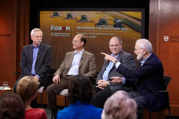 """If we judge by its impact on human health, the American food supply is a disaster,"" said Walter Willett (left), chair of the HSPH Department of Nutrition. Willett was joined by Harvard Medical School Professor David Ludwig, Gary Williams of Texas A&M University, and Barry Popkin of the University of North Carolina."