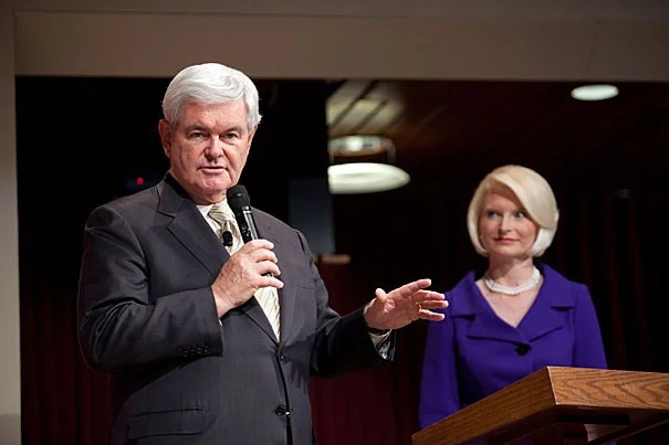 """""""Post-Watergate micro-democratization of financing is a spectacular disaster,"""" said Republican presidential candidate Newt Gingrich (seen here with wife, Callista). """"We'd be vastly better off if anyone could give as much as you want, and it would be reported every night on the Internet."""""""