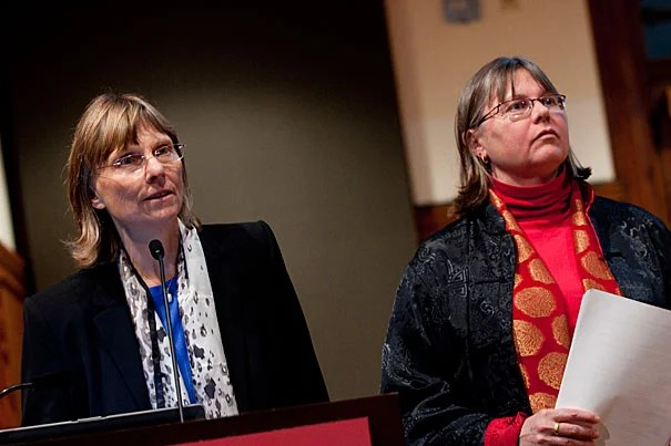 """For me the question about foot binding has always been 'how could rural families afford to lose women's labor'?"" said Laurel Bossen (left), the Carl and Lily Pforzheimer Foundation Fellow at the Radcliffe Institute for Advanced Study. Bossen and Melissa Brown (right), Radcliffe's Frieda L. Miller Fellow, shared their research on the practice of foot binding."