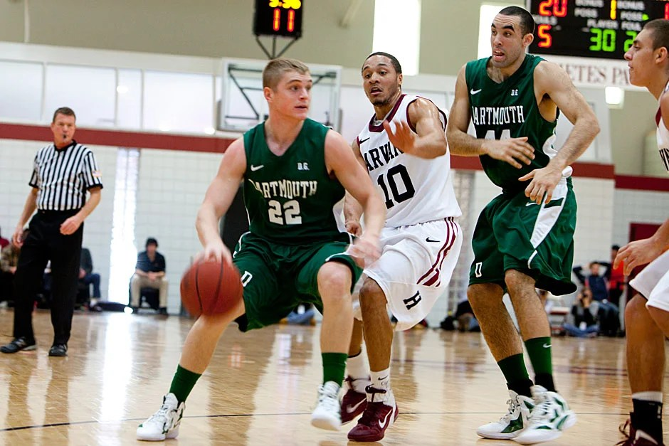 Brandyn Curry's three-point play helped Harvard take the lead in the second half. Rose Lincoln/ Harvard Staff Photographer