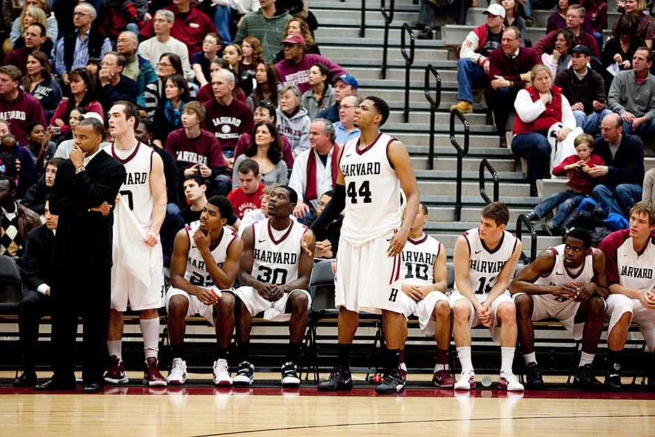 Hot and bothered: The Harvard bench contests the ref's call.  Rose Lincoln/ Harvard Staff Photographer