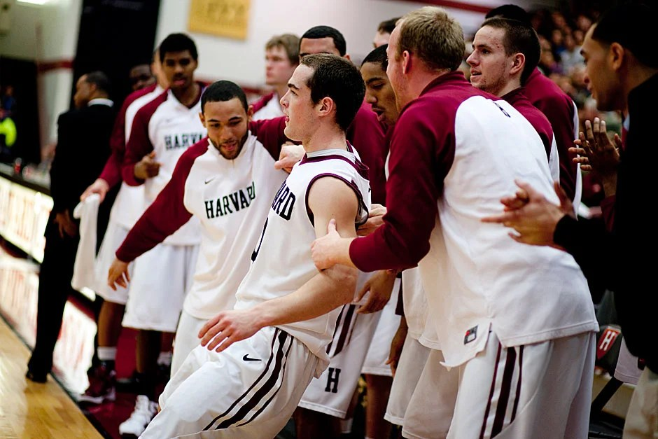 But he gets by with a little help from his teammates.  Rose Lincoln/ Harvard Staff Photographer