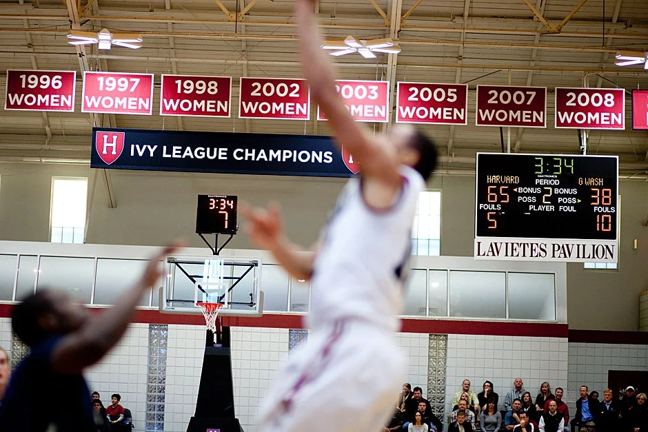 The score with three and a half minutes remaining says it all, as Harvard's season continues to flourish. Rose Lincoln/ Harvard Staff Photographer