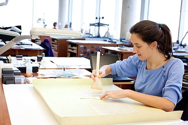 "Conservation intern Allison Holcomb, a master's degree student in the Winterthur/University of Delaware Program in Art Conservation, examined Austen's letters and wrote a detailed ""proposal record"" for repairing each. It's a technical job, but a private thrill, said Holcomb. She emailed a friend about the project, filling in the subject line with exclamation points."