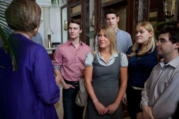 President Drew Faust meets with Harvard students during the first leg of her trip to India.