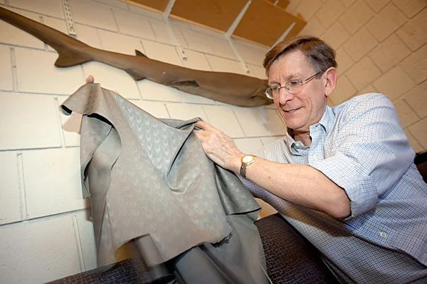 """Professor George Lauder has found that the rough surface of shark skin helps reduce drag and increase thrust as the animal swims. Interestingly, the research also tested the high-tech swimsuits and found that their surface (supposedly designed to mimic shark skin) has no effect on swimming speed. """"I'm convinced they work, but it's not because of the surface,"""" he said of the swimsuits."""