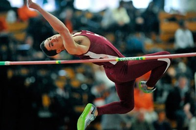 At a Feb. 11 meet against Yale and Princeton, Jonathan Sparks '14 leaped over the bar in the high jump, clearing 1.99 meters, tying him with the eventual winner.
