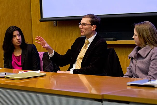 Maya Jasanoff and her faculty colleagues gathered at the Tsai Auditorium on Feb. 16 and March 7 to consider how the Faculty of Arts and Sciences (FAS) may look in a generation. The February session included, among others, Jasanoff (from left), Harvard faculty Martin Puchner, and  Ann Pearson.