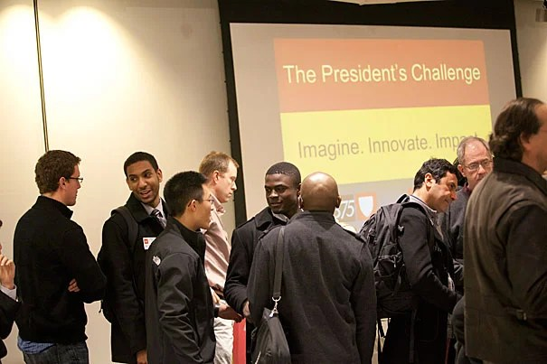 """A large number of teams applied to the President's Challenge, and the quality of their submissions was truly impressive. We're off to a great start,"" said Provost Alan Garber, who organized the judging panel along with Harvard Business School Professor Bill Sahlman. In February, the teams gathered at the i-lab to discuss their plans."