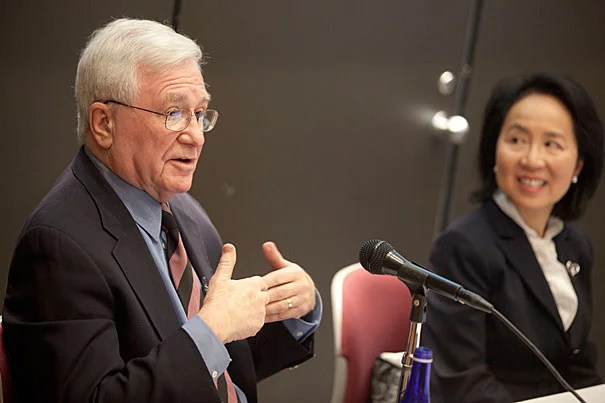 "Herbert Benson, pictured with lecturer Lilian Cheung, was at the Harvard School of Public Health last week to talk about research on mind-body therapy. Benson is the author of ""The Relaxation Response"" and ""Relaxation Revolution."""