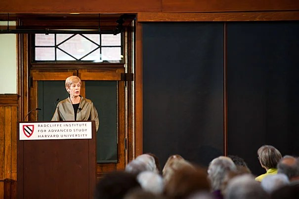 """Women's exclusion from the University began """"as a part of the social order of the time,"""" one that went largely unquestioned by both men and women and that was connected to both """"tradition and privilege,"""" said historian Helen Lefkowitz Horowitz, speaking at the Radcliffe Institute, in a talk titled """"It's Complicated: 375 Years of Women at Harvard."""""""