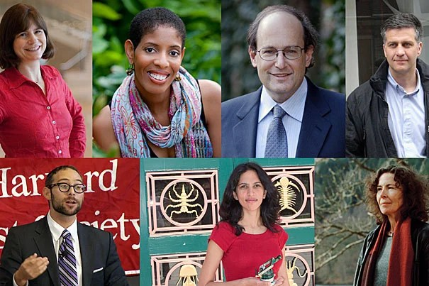 The new crop of incoming Radcliffe Fellows includes political scientist Andrea Campbell (clockwise from top left), playwright Lydia Diamond, physicist Paul J. Steinhard, film director Romuald Karmakar, novelist Margot Livesey, professor of computer science Radhika Nagpal, and law professor I. Glenn Cohen. Mathematician Irit Dinur is not pictured.