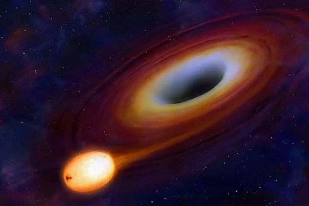 """""""Black holes are very efficient eating machines,"""" said Scott Kenyon of the Harvard-Smithsonian Center for Astrophysics. """"They can double their mass in less than a billion years. That may seem long by human standards, but over the history of the galaxy it's pretty fast."""""""