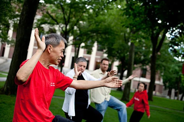 Yon Lee (left) is offering free, outdoor tai chi lessons in Harvard Yard on Tuesday afternoons through the summer and into the fall as part of the University's emphasis on revitalizing common spaces.