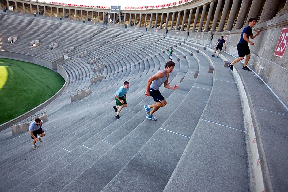 It's 10 round trips on the stadium steps for Harvard's boxers. Rose Lincoln/Harvard Staff Photographer