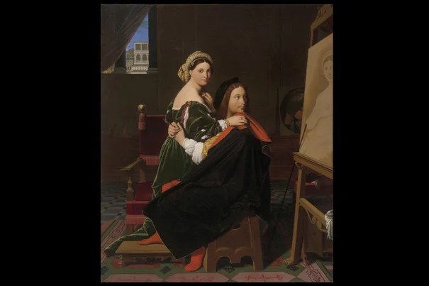 """Elizabeth Rudy, Theodore Rousseau Assistant Curator of European Paintings, noted that French artist Jean-Auguste-Dominique Ingres' """"Raphael and the Fornarina,"""" the artist ignores his lover for the gaze of a timeless portrait he's just finished."""