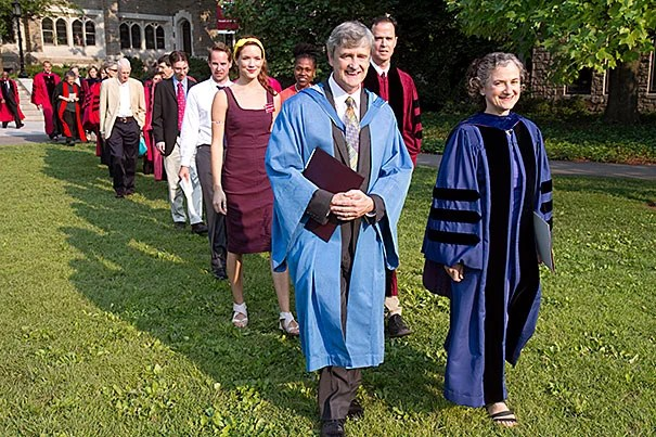 New Harvard Divinity School Dean David Hempton and Ann D. Braude, director of the women's studies in religion program, lead the procession from Andover Hall. During a moving keynote address, Hempton reflected on religious and ethnic conflict, and suggested ways to move beyond it.