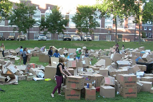 """When students and custodians had an opportunity to participate in setting a world record, it was one more reason to save boxes from being wasted,"" said Rob Gogan, manager of recycling and waste services at Harvard Campus Services. ""It was fun to watch the pride with which students who had donated boxes pointed out to their friends where their boxes fit in the overall fort. I hope we can mobilize another student to pick up the torch next fall after Laura graduates."""
