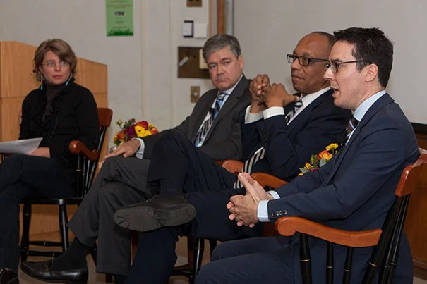 "Moderator Jill Lepore (from left) with political journalists John Harwood, Eugene Robinson, and Ryan Lizza at ""Press and the Race: A Presidential Election Roundtable."""