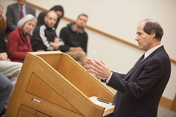 Cass Sunstein returned to Harvard Law School more than three years after he left to serve as the Obama administration's regulatory czar. In his talk on Nov. 7, he discussed behavioral-economics concepts, such as libertarian paternalism, choice architecture, and hard and soft paternalism, with real-world applications still at the front of his mind.
