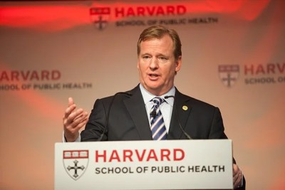 """In a talk delivered two days before the Harvard-Yale football game, NFL Commissioner Roger Goodell spoke about ongoing reforms geared toward enhancing player safety. """"Football has always evolved and it always will,"""" he said."""