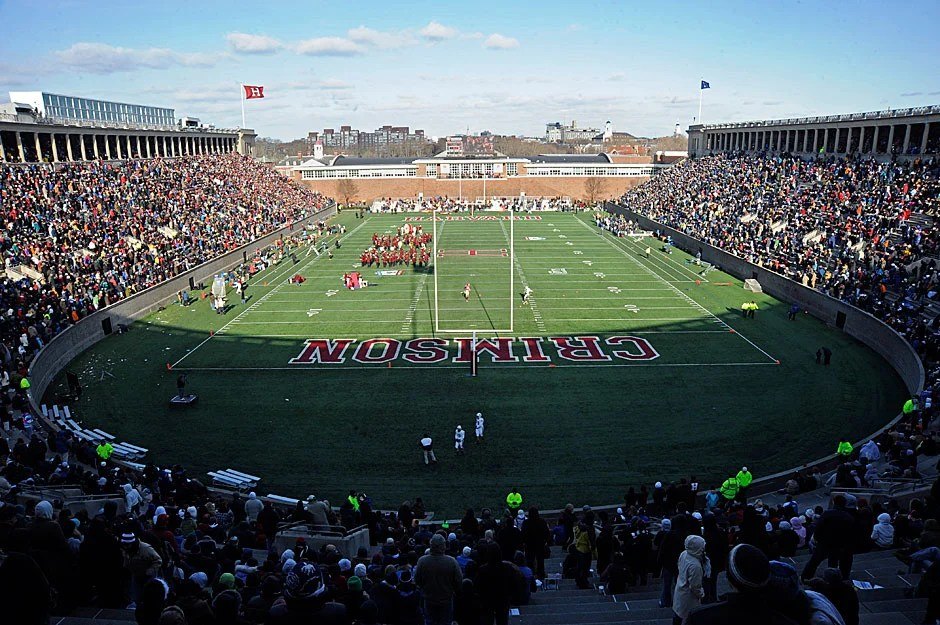 Harvard Stadium at halftime during the 125th playing of the Harvard-Yale game. Marching bands from both schools go to great lengths to parody and ridicule the other side with skits both funny and bizarre. Harvard won the 2008 game, 10-0, and shared the Ivy League championship with Brown.