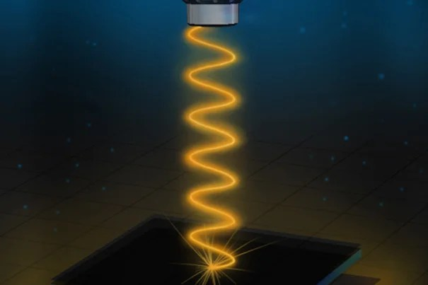 Artist's rendition of the experimental setup used to measure the reflectivity of the vanadium-sapphire device. Modified from an illustration by Kirill Nadtochiy