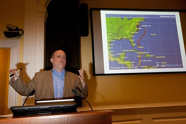 """Professor Daniel P. Schrag told his Radcliffe audience that warm water played a big part in Sandy's track, noting that the cool mid-Atlantic water typically would have sapped the hurricane's energy. But water warmed by 4 degrees Fahrenheit gave it energy. Schrag's lecture, """"Wetter Weather: Water on a Changing Planet,"""" was the latest in the ongoing Water Lecture Series at Radcliffe."""