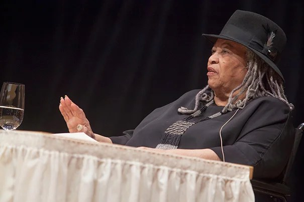 """In a talk titled """"Goodness: Altruism and the Literary Imagination,"""" Toni Morrison expanded on the theme of goodness for the 2012 Harvard Divinity School's Ingersoll Lecture on Immortality. """"Expressions of goodness are never trivial in my work, are never incidental in my writing,"""" said Morrison."""