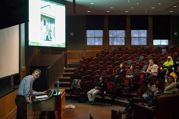 "Tom Wooten '08, author of ""We Shall Not Be Moved: Rebuilding Home in the Wake of Katrina,"" discussed his book during a Wintersession lecture in Sever Hall."