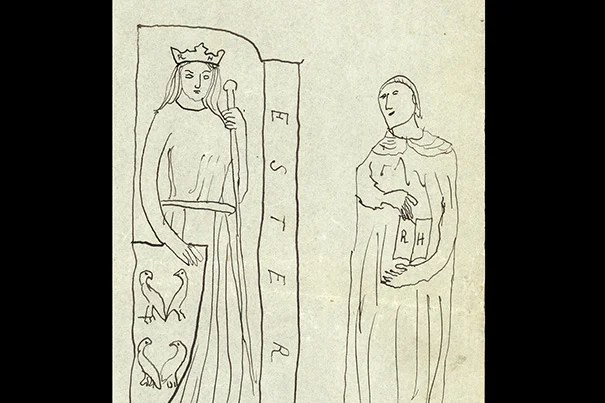 "In this drawing, ""Esther pour Reynaldo Hahn,"" Marcel Proust inscribed Hahn's initials (RH) on the female figure's crown and on the pages of the open book. He replaced the caption ""Concordia"" with the biblical ""Esther,"" the subject of a 1905 opera by Hahn, and he set her next to her adoptive father ""Mordecai,"" drawn from a statue of Saint Jerome. Below, Proust wrote that Esther is shown ""with little bbirds,"" while Mordecai is ""botsched."""