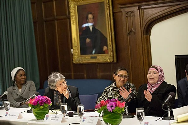 Judge Kholoud Al-Faqih (far right) speaks at a Harvard Divinity School panel on Shariah law alongside panelists Hauwa Ibrahim (from left), Leila Ahmed, and Rev. Gloria White-Hammond, M.Div. '97.