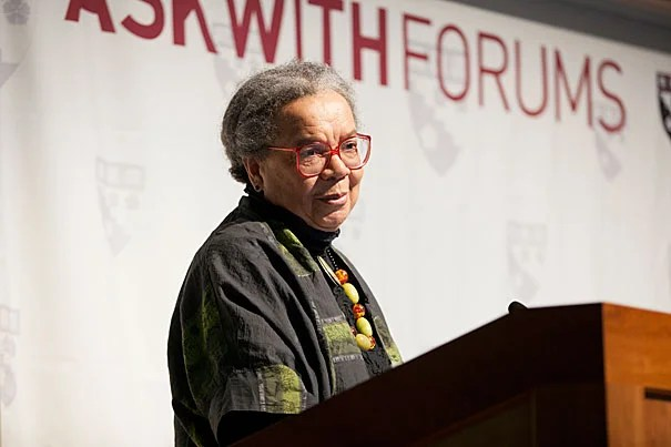 "Educational institutions ""should not become armed bastions, with more guns in schools. Teachers need to teach,"" said Marian Wright Edelman, founder and president of the Children's Defense Fund, told her Askwith Forum audience."
