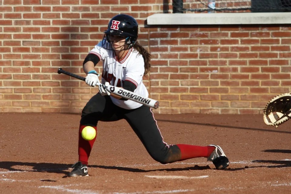 Jessica Ferri '15 lays down a bunt that ended up going foul.