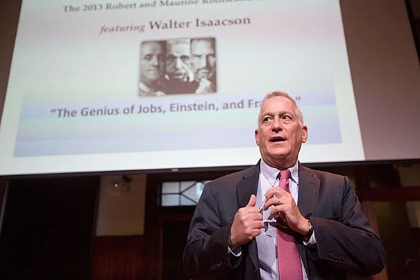 """The history of science in the 21st century will likely be dominated not by """"lone geniuses,"""" said Walter Isaacson, but by collaboration and by """"collective, applied imagineering."""" During a talk at Radcliffe, Isaacson explored the genius of three transformative men — Benjamin Franklin, Albert Einstein, and Steve Jobs — unraveling both their intellectual brilliance and their common desire to help change the world."""