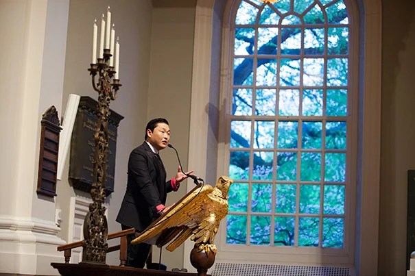 """The Korea Institute at Harvard University sponsored """"A Conversation with Psy"""" for a packed audience of Harvard students, staff, and faculty and the international press at the Memorial Church."""