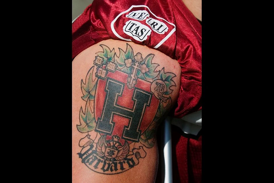 This tattoo belongs to Crimson offensive tackle Nik Sobic '07, who broke his leg the previous week against Columbia, and had to sit out the 2006 Yale game.