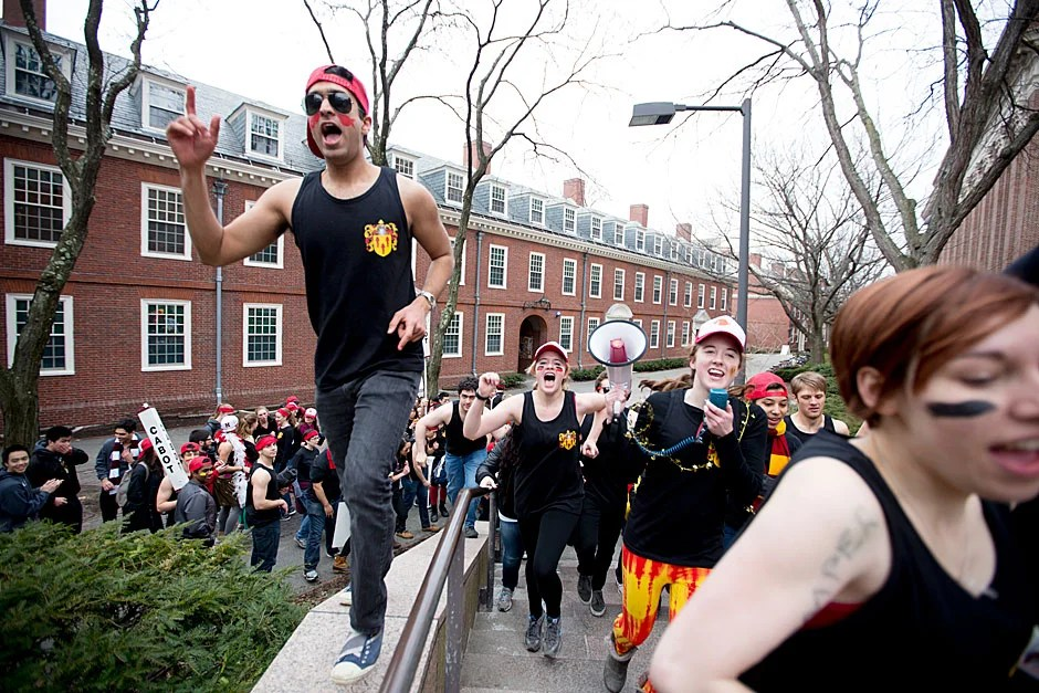 Cabot House residents get crazy as they head to their final freshman dorm during Harvard University Housing Day. Rose Lincoln/Harvard Staff Photographer